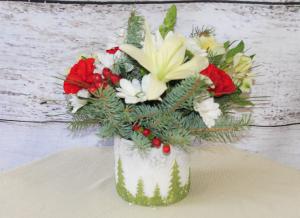 Christmas Trees Centerpiece in Stevensville, MT | WildWind Floral Design Studio