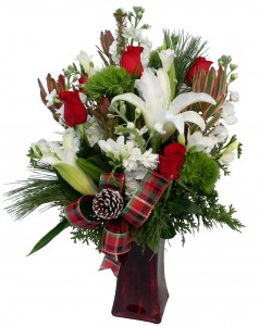 Christmas Vase Arrangement in Akron, PA | ROXANNE'S FLOWERS