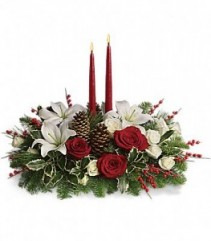 Christmas Wishes Centerpiece  Fresh Arrangement