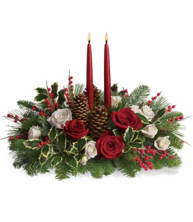 Christmas Wishes Centerpiece All-Around Floral Arrangement