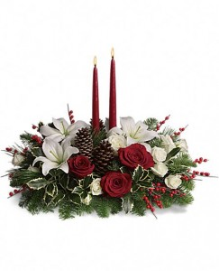 Christmas Wishes Centerpiece Centerpiece Arrangement in Warrington, PA | ANGEL ROSE FLORIST INC.