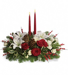 Christmas Wishes Teleflora Candle Centerpiece  in White Oak, PA | Breitinger's Flowers & Gifts