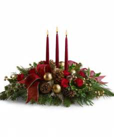 Christmas wonder 3 candle centerpiece in Colorado Springs, CO | ENCHANTED FLORIST II