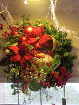 Christmas Wreath Snowman In Sock Poinsettias Berries Etc In