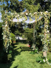 chuppah greenery backyard chuppah