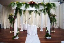Chuppah with ceremony arrangements Ceremony