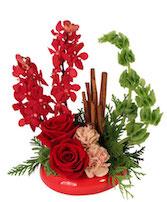 Cinnamon Orchids & Roses Floral Arrangement