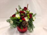 Cinnamon Sticks and Roses Table Arrangement