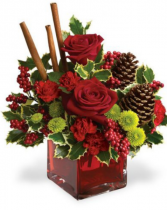 Cinnamon sticks and xmas kisses Fresh arrangement