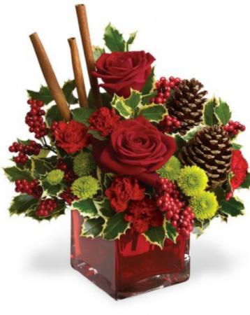 Cinnamon sticks and xmas kisses Fresh arrangement