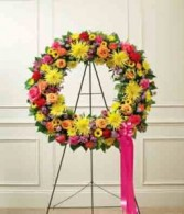 Circle of Love Wreath Of Colorful Blooms