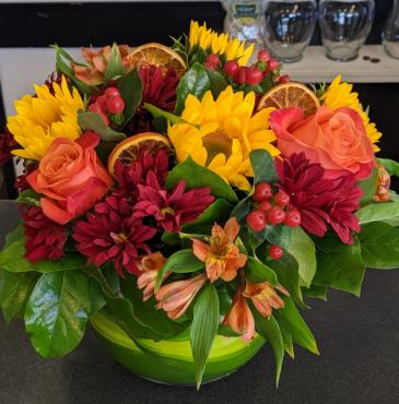 Citrus and sunflowers Centerpiece