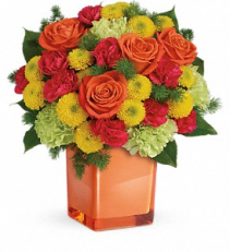Citrus Smiles Cube Vase Arrangement