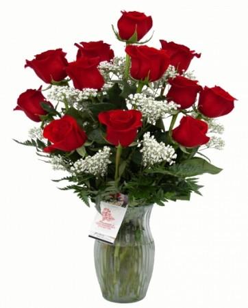 Classic Symbol of Love 1 Doz Rose Vase