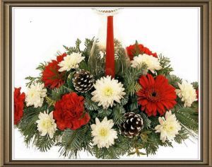 CLASS Christmas Centerpiece  This is a class to design a Christmas centerpiece. in Saint Charles, MO | MISTY'S ENCHANTED FLORIST