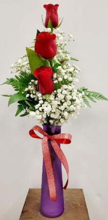 Classic 3 Rose Bud Vase in Springfield, MO | FLOWERAMA #226