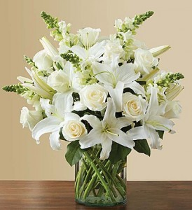 Classic All White Arrangement for Sympathy Flower Arrangement