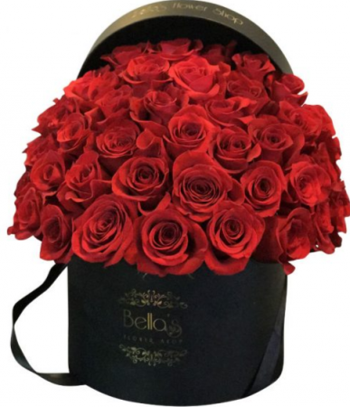 50 Red Roses in Black hat box