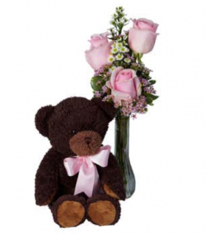 Classic Bud Vase Roses with Teddy  in Saint Cloud, FL | Bella Rosa Florist