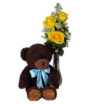 Classic Bud Vase Roses with Bear Yellow Roses