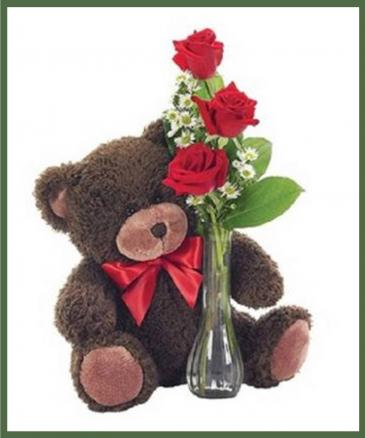 Classic Bud Vase with Bear Any Color - 3 Roses