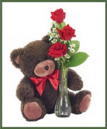 Classic Bud Vase with Bear Your Choice of Rose Color