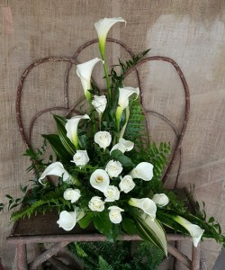 Classic Calla Lily Sympathy Arrangement In Mansfield Oh Janet S