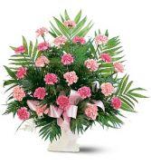 Classic Carnation Arrangement Funeral Vase