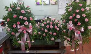 Classic Carnations Package (3 Pieces) Casket Spray & Easels in Henderson, TX | RAYFORD FLORIST & GIFTS