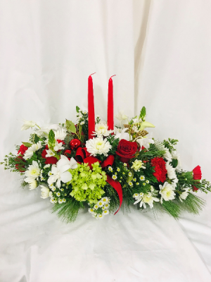 Classic Centerpiece with candles Christmas in Medfield, MA | Lovell's Florist, Greenhouse & Nursery