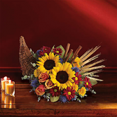 classic cornucopia Fall Flower Arrangement