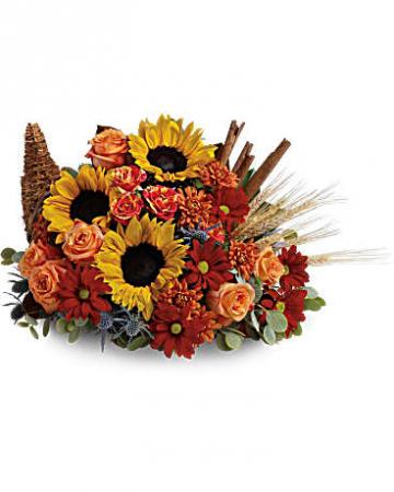 Classic Cornucopia Flower Arrangement Fall Fresh Arrangement