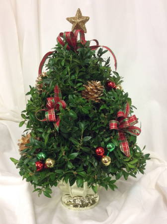 Classic Decorated Boxwood Tree Christmas