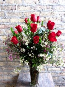 Classic Dozen Red Roses  with Foliage & Waxflower