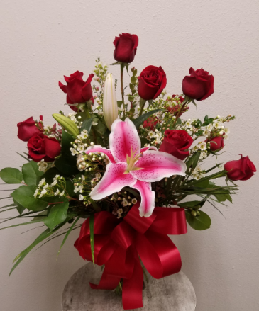 Classic Doz Roses with Filler and Stargazer Lily Vase Arrangement - All-Around
