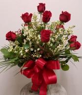 Classic Doz Roses with Filler Vase Arrangement - All Around