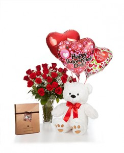 Classic Dozen Combo One Dozen Roses, Large Bear, Premium Harry London Chocolates and Ballons