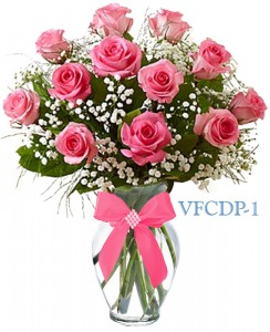 classic dozen pink roses floral arrangement in williston park ny