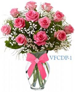 Classic Dozen Pink Roses Floral Arrangement
