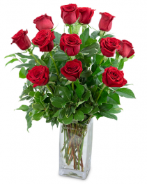 Classic Dozen Red Roses Flower Arrangement