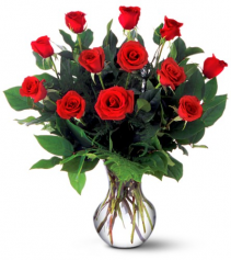 Classic Dozen Red Roses Vased Vase Arrangement