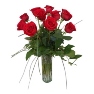 Classic Dozen Red Roses Vased Vase Arrangment