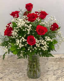 Classic Dozen Red Roses With Babies Breath