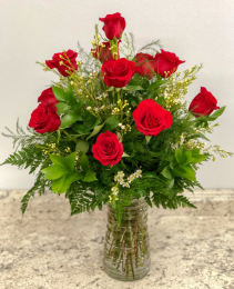 Classic Dozen Red Roses With Wax Flower