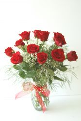 "Classic Dozen Red Rose Vase ""Rose4"""