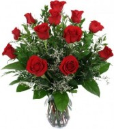 Classic Dozen Log Stem Red Roses