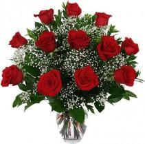 Classic Dozen Roses Vase Arrangement
