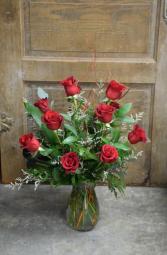 Classic Dozen Roses Vased Arrangement