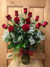 Classic Dozen Roses with Baby's Breath T&V Original