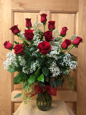 Classic Dozen Roses with Baby's Breath T&V Original in Appleton, WI | TWIGS & VINES FLORAL